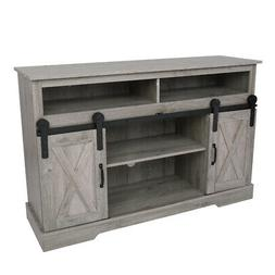 52 Inch TV Stand Wood Console Table with Sliding Barn Door F