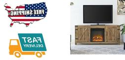 """Pemberly Row 58"""" Fireplace TV Stand in Barnwood"""