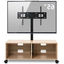 Rolling Wood TV Stand Media Console with Mount for Most 32-6
