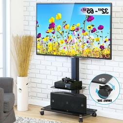 TV Stand Rolling Cart TVs to 65 Inch Swivel Adjustable Heigh