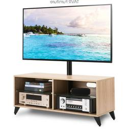 Wood Media TV Stand Storage Console with Swivel Mount for 32