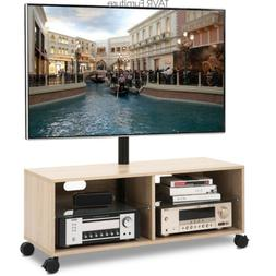 Wood TV Stand Media Console with Mount and Wheels for Most 3